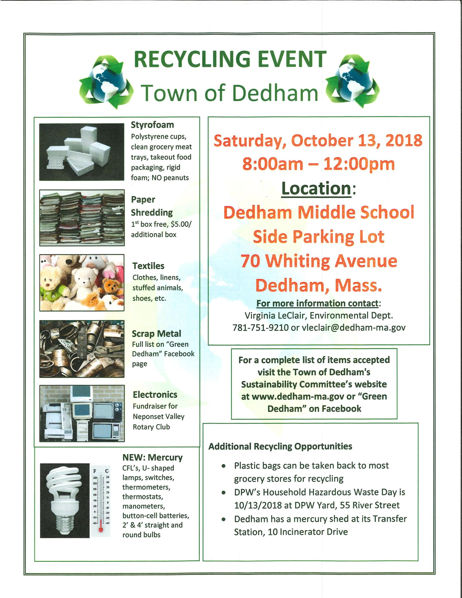 Fall Recycling Day | Community Events | Town of Dedham